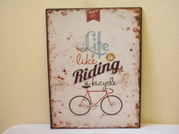 RETRO OBRAZ- LIFE IS LIKE RIDING A BICYCLE -PLECH