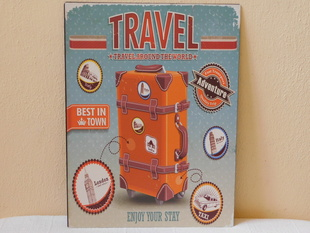 RETRO OBRAZ - TRAVEL AROUND THE WORLD - PLECH